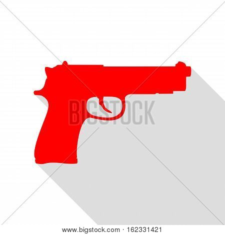 Gun sign illustration. Red icon with flat style shadow path.