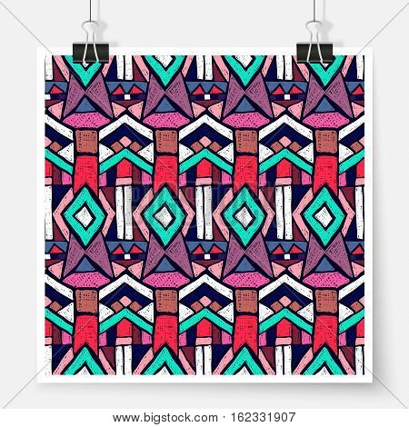 Ethnic pattern poster on binder clips. Tribal doodles ornament. Seamless aztec texture for fabric design interior elements wallpapers paper backgrounds and printed products.