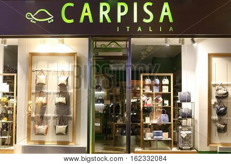ZAGREB CROATIA - OCTOBER 31 2016 : A view of the shopwindow of Carpisa store in the city centre of Zagreb Croatia. Carpisa is an Italian bag fashion brand.