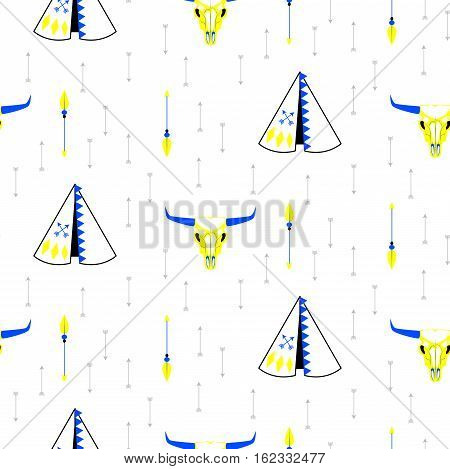 Tribal navajo teepee seamless pattern. White minimalistic pattern with wigwam, cow head skull and arrows.