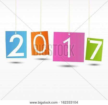 Happy New Year 2017 background.Colorful Greeting card. Vector illustration.