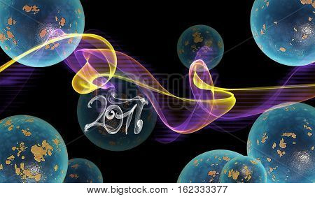 abstract colorful wavy smoke flame over black background full of planets and 2017 lettering written by blue smoke.