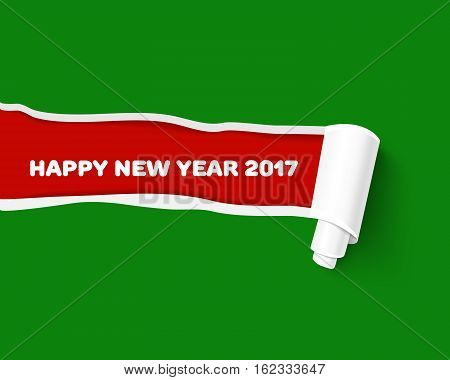 Green teared paper edge isolated on red background for New Year promo and advertising. Vector torn paper template. Hole in red paper with torn sides as Merry Christmas background.