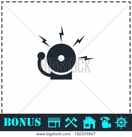 Fire alarm icon flat. Simple vector symbol and bonus icon
