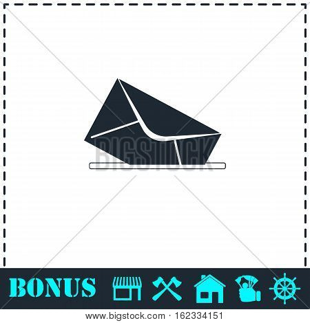 Mail box icon flat. Simple vector symbol and bonus icon