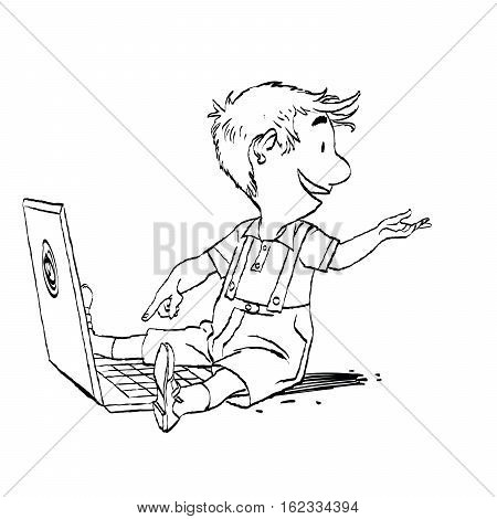 The boy sits with his laptop. New generation. Game and the Internet. Online education. Black and white illustration