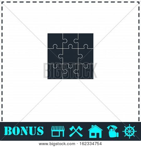 Puzzles icon flat. Simple vector symbol and bonus icon