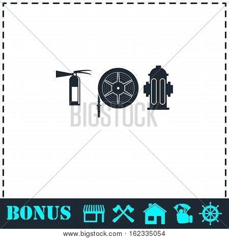 Fire equipment icon flat. Simple vector symbol and bonus icon
