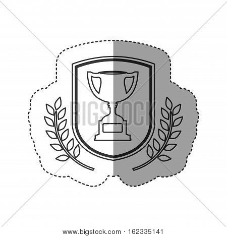 Trophy inside label icon. Competition success sport and challenge theme. Isolated design. Vector illustration