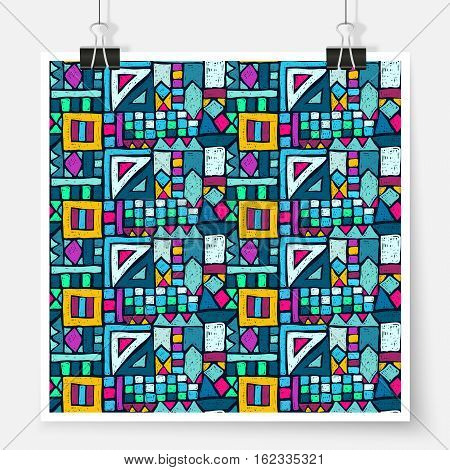 Geometric Ethnic Pattern Poster Doodle Ornament Bright