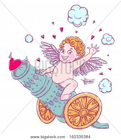 Valentine's day. Funny Cupid-boy riding on a cannon firing hearts. Vector illustration isolated on white. T-shirt printing