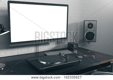 Hipster Workplace With White Computer