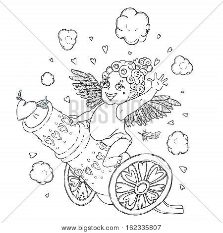 Valentine's day. Funny Cupid-girl riding on a cannon firing hearts. Vector illustration isolated on white. Coloring page