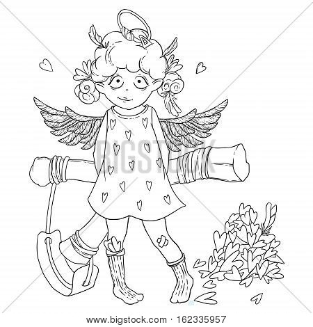 Valentine's day. Naughty cute curly Cupid-girl with slingshot behind her back, wings and halo. Vector illustration isolated on white. Coloring page