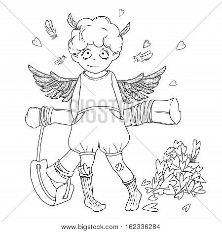 Valentine's day. Naughty cute curly Cupid-boy with slingshot behind his back, wings and a bunch of hearts. Vector illustration isolated on white. Coloring page