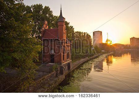 Summer sunset on rivet Peregolya, Kaliningrad, Russia