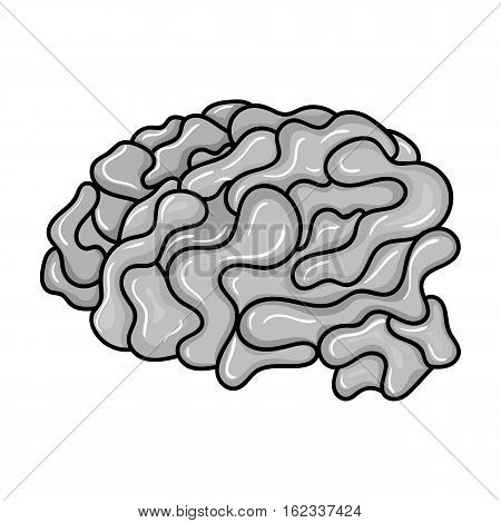 Brain in the virtual reality icon in monochrome style isolated on white background. Virtual reality symbol vector illustration.