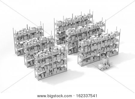 Warehouse with forklifts. 3d illustration