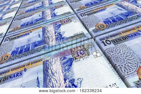 Jordanian dinars bills stacked background. 3D illustration.
