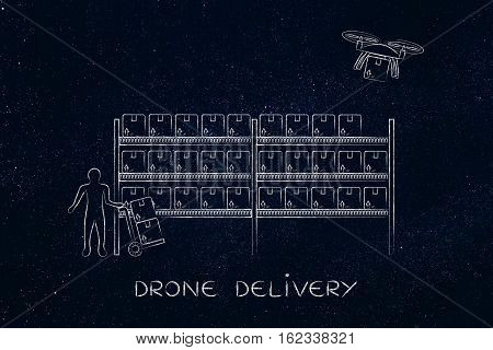 Drone Delivery Of Online Order Parcel, Warehouse Version