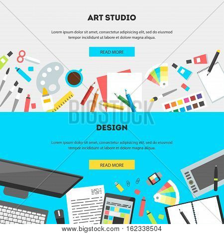 Set horizontal banners, flat design vector illustration of modern creative office workspace, workplace of designer, art studio. The office of a creative worker. Flat style and color for web mobile