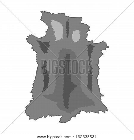 Animal hide icon in monochrome style isolated on white background. Stone age symbol vector illustration.
