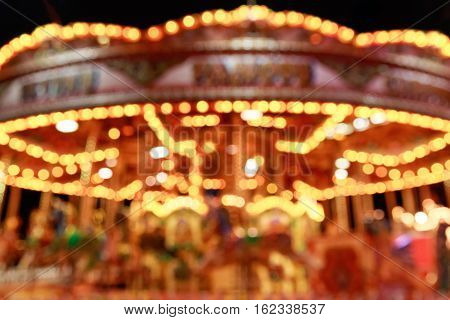 Blurred Merry-go-round In Winter Wonderland