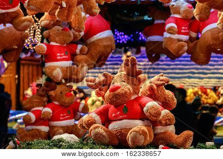 Plush Reindeers In A Christmas Fair