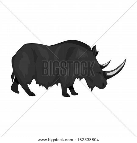 Woolly rhinoceros icon in monochrome style isolated on white background. Stone age symbol vector illustration.