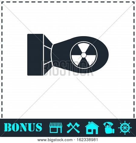 Nuclear bomb icon flat. Simple vector symbol and bonus icon