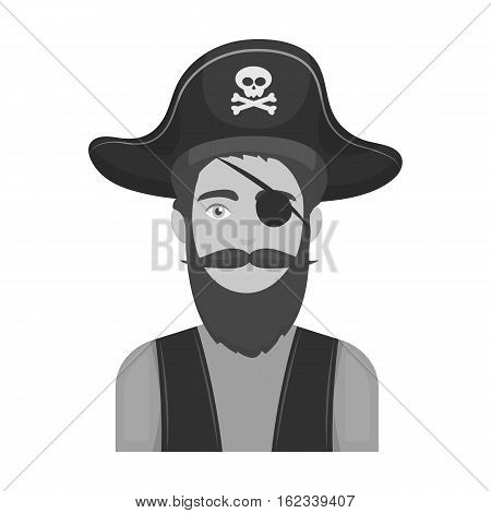 Pirate with eye patch icon in monochrome style isolated on white background. Pirates symbol vector illustration.