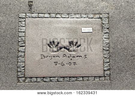 Names And Hand Prints Of Stars At The Munich Walk Of Fame In The Olympia Park