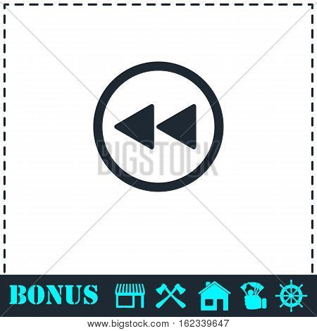 Rewind icon flat. Simple vector symbol and bonus icon