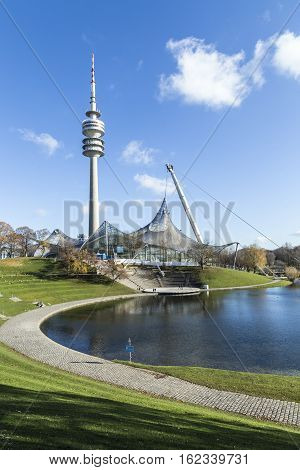 Tower Of Stadium Of The Olympiapark In Munich