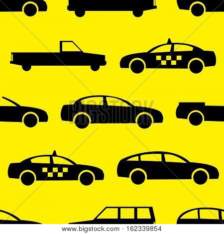 Car seamless pattern. Vector illustration for transport design. Bright vehicle, car, automobile, taxi pattern. Car wallpaper background. Cartoon silhouette shape. Transportation auto pattern