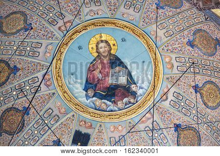 ISTANBUL TURKEY - APRIL 12 2015: Dome paintings depicting the Pantocrator in the Hagia Triada Greek Orthodox Church in Istanbul