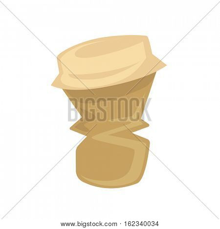 Garbage - paper cup for coffee or tea drink with lid. Crumpled disposable cup from recycle trash. Vector illustration isolated on white background.