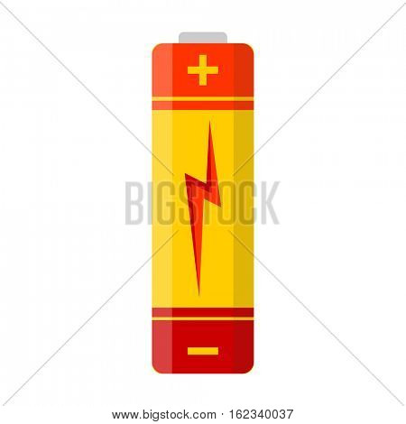 Battery flat colorful clipart isolated. Vector battery AA. Isolated on white background.
