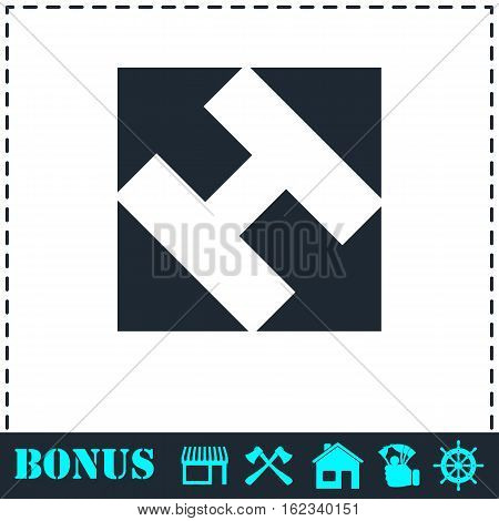 Helicopter landing pad icon flat. Simple vector symbol and bonus icon