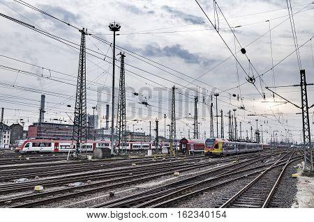 Trains Arrive And Depart At Frankfurt Train Station