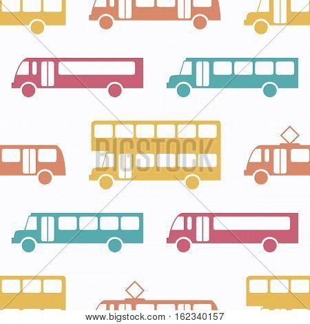 Retro bus seamless pattern. Vector illustration for transport design. Bright vehicle pattern. Bus wallpaper background. Cartoon silhouette shape. Transportation school bus shape wallpaper pattern