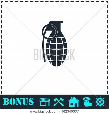 Hand grenade icon flat. Simple vector symbol and bonus icon