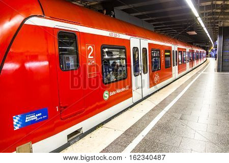 Commuter Train Waits At The Munich Railway Station Karlsplatz