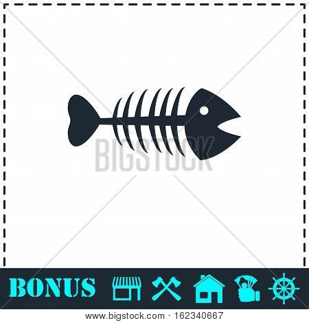 Fishbone icon flat. Simple vector symbol and bonus icon
