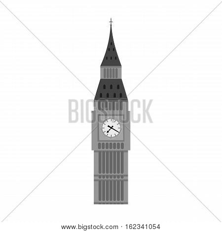 Big Ben icon in monochrome style isolated on white background. England country symbol vector illustration.