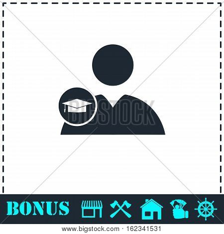 Student icon flat. Simple vector symbol and bonus icon