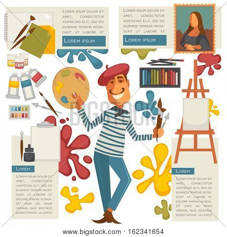 Set of design elements with profession artist and painter tools for creative design and drawing: paint and palette, brush, easel and canvas, pencil and paper. Vector illustration cartoon character.