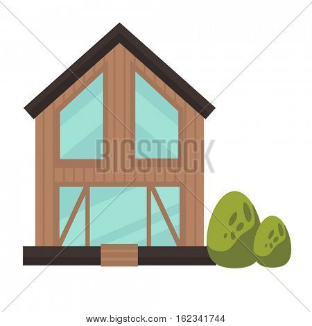 Architecture of modern urban building. Exterior facade of house. Cottage model in flat style. Cartoon vector illustration of glass city construction. Cityscape element - residential real estate.