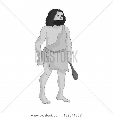 Primitive man with truncheon icon in monochrome style isolated on white background. Stone age symbol vector illustration.