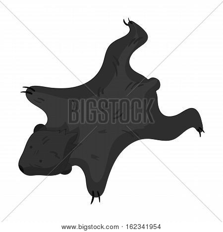 Bearskin icon in monochrome style isolated on white background. Stone age symbol vector illustration.